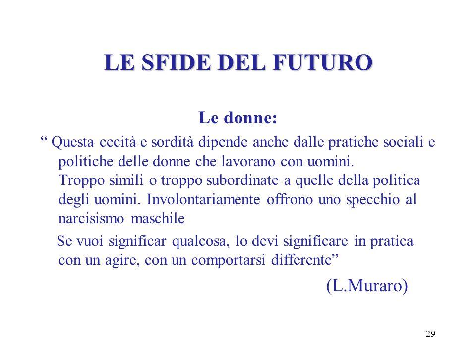 LE SFIDE DEL FUTURO Le donne: (L.Muraro)
