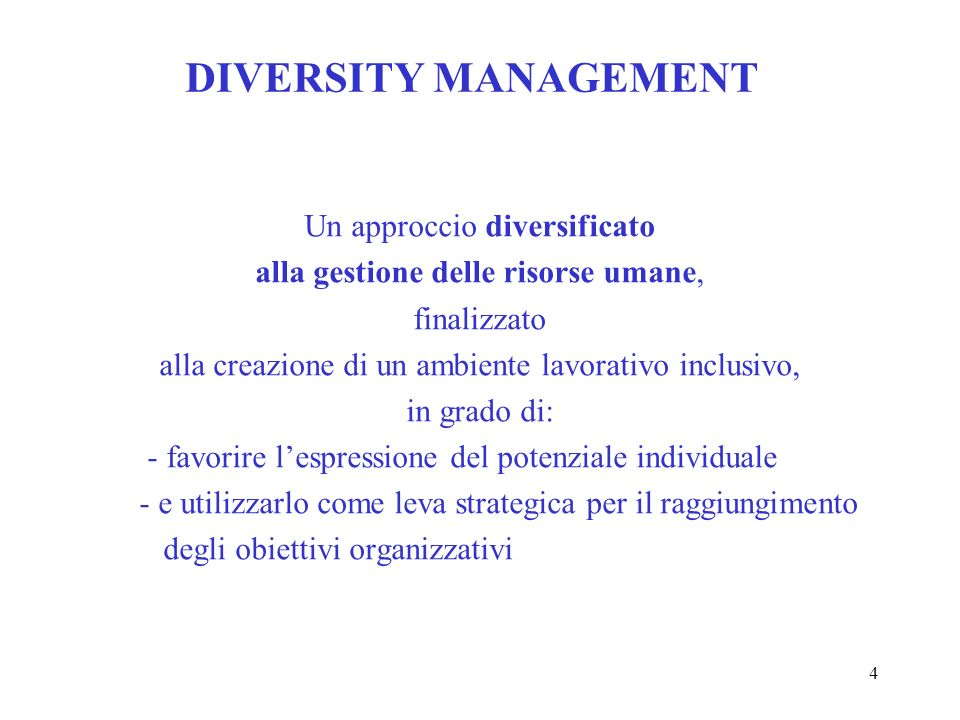 DIVERSITY MANAGEMENT Un approccio diversificato