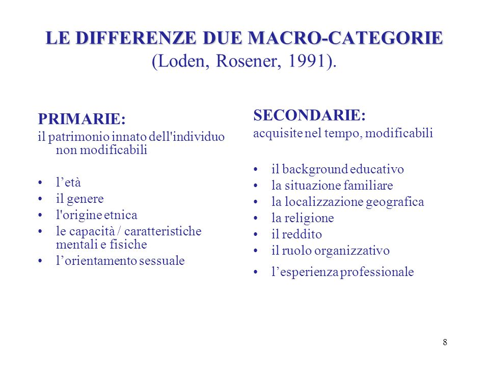 LE DIFFERENZE DUE MACRO-CATEGORIE (Loden, Rosener, 1991).