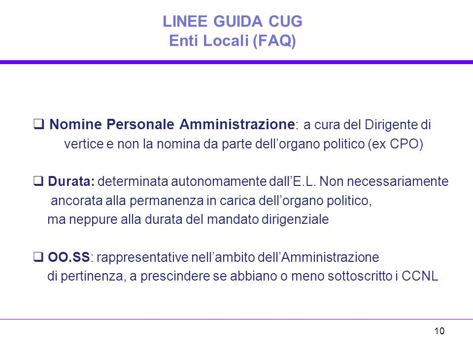 LINEE GUIDA CUG Enti Locali (FAQ)