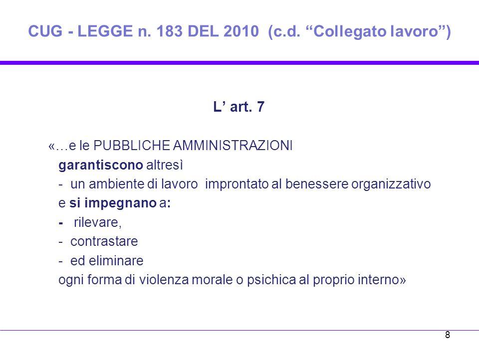 CUG - LEGGE n. 183 DEL 2010 (c.d. Collegato lavoro )
