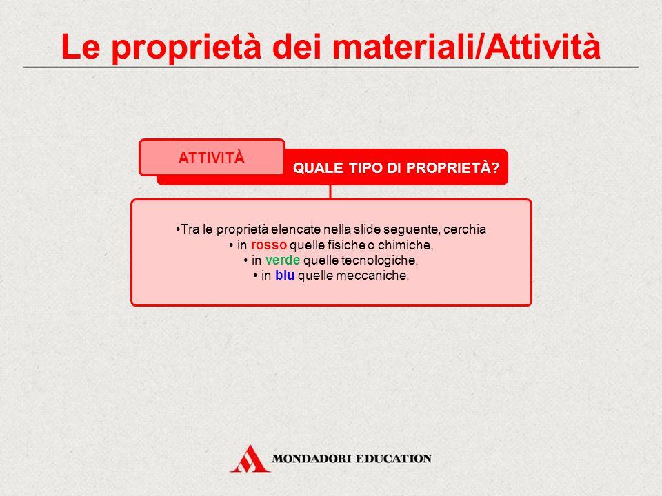 Le proprietà dei materiali/Attività