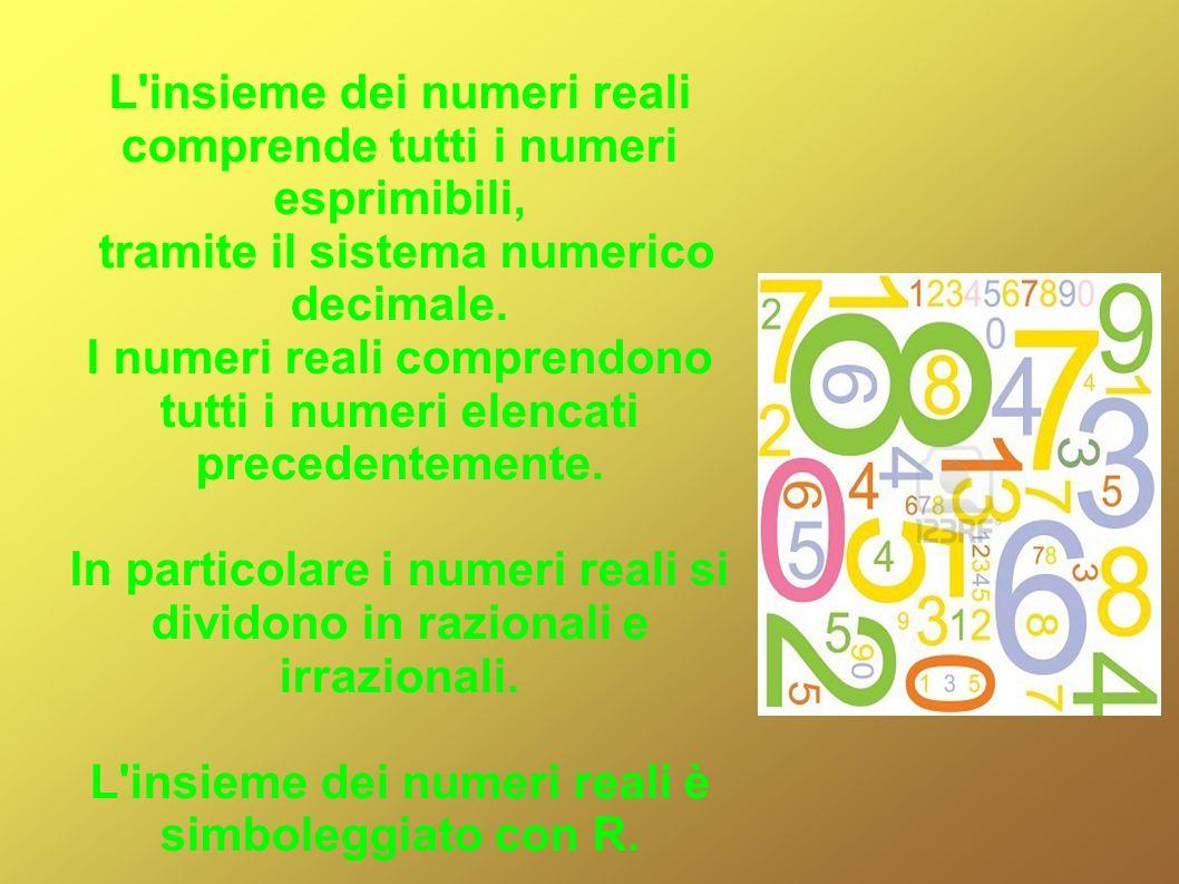 L insieme dei numeri reali comprende tutti i numeri esprimibili,