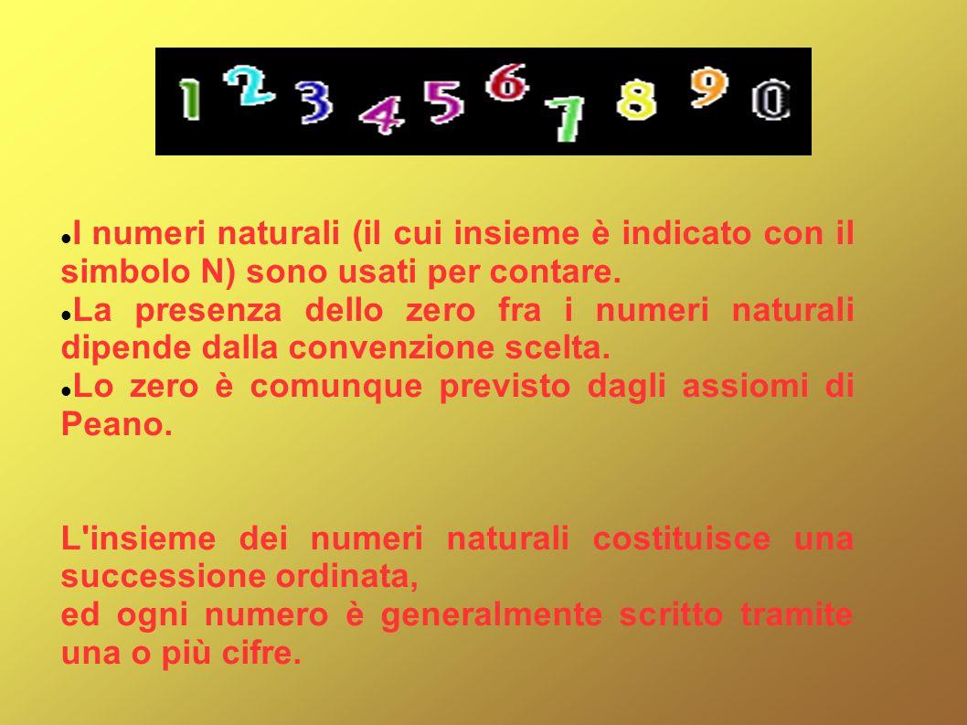 I numeri naturali (il cui insieme è indicato con il simbolo N) sono usati per contare.