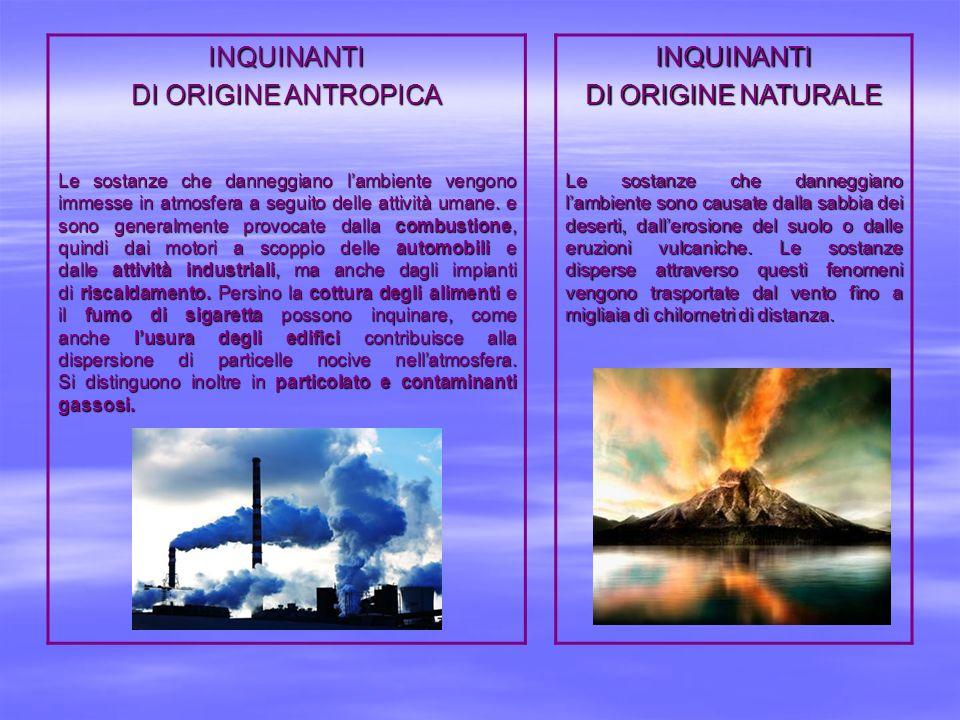 INQUINANTI DI ORIGINE ANTROPICA INQUINANTI DI ORIGINE NATURALE