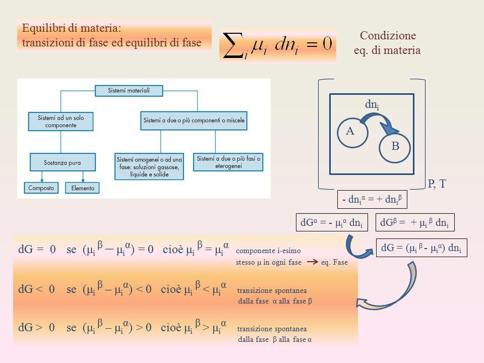 transizioni di fase ed equilibri di fase Condizione eq. di materia