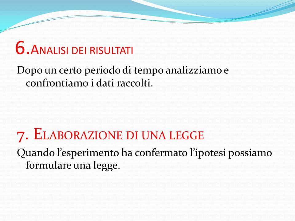 6.ANALISI DEI RISULTATI 7. ELABORAZIONE DI UNA LEGGE
