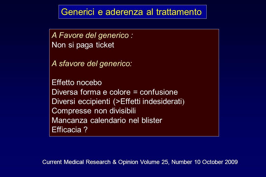 Generici e aderenza al trattamento