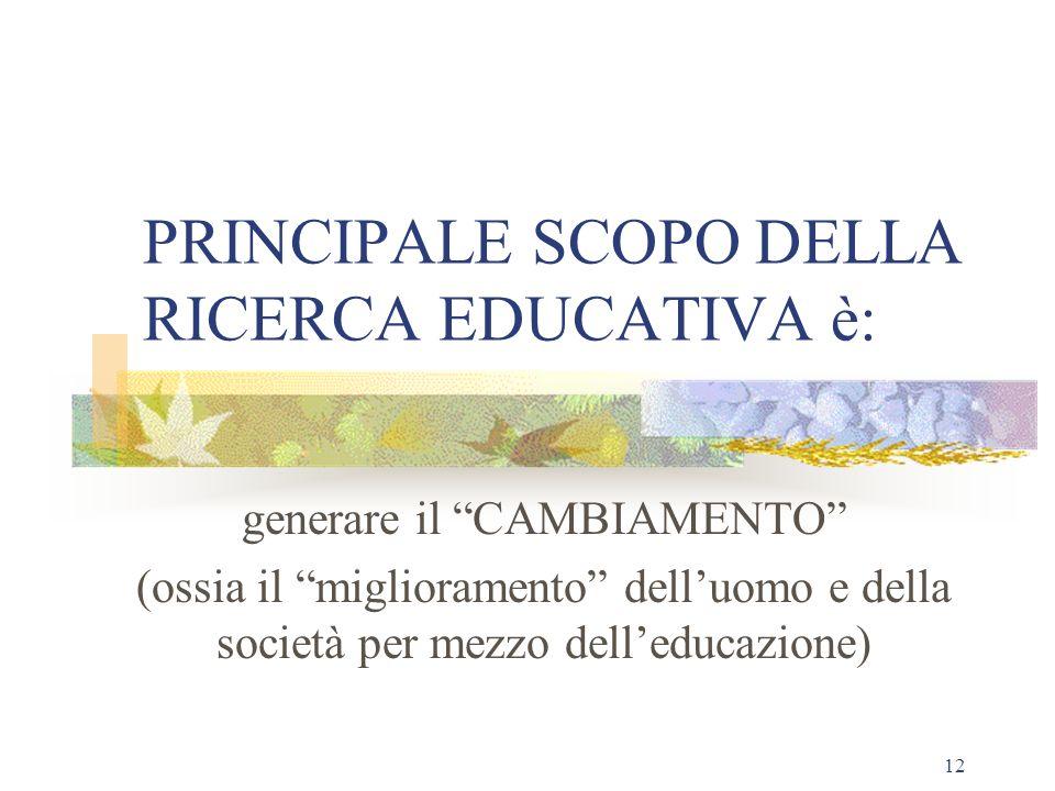 PRINCIPALE SCOPO DELLA RICERCA EDUCATIVA è:
