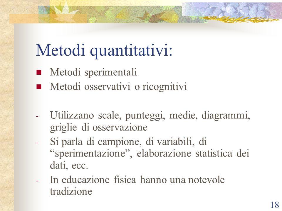 Metodi quantitativi: Metodi sperimentali