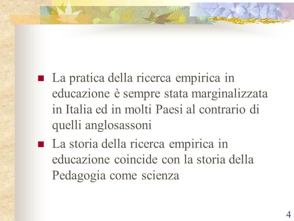 La pratica della ricerca empirica in educazione è sempre stata marginalizzata in Italia ed in molti Paesi al contrario di quelli anglosassoni