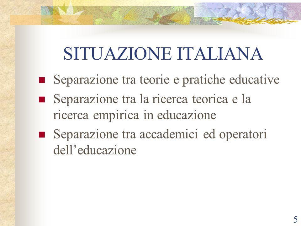 SITUAZIONE ITALIANA Separazione tra teorie e pratiche educative