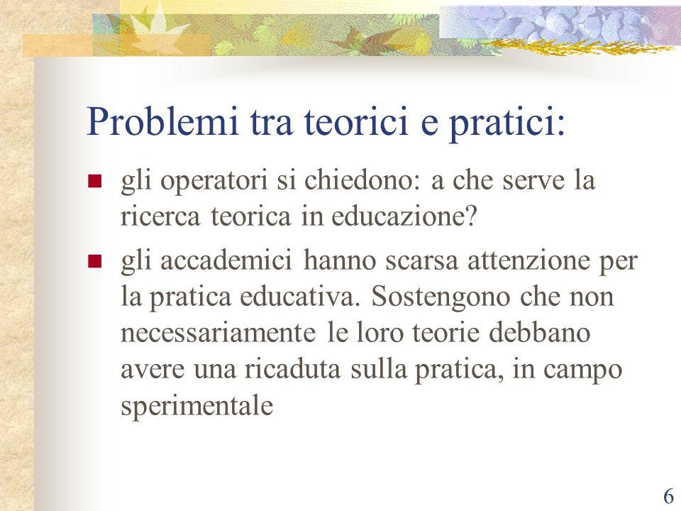 Problemi tra teorici e pratici:
