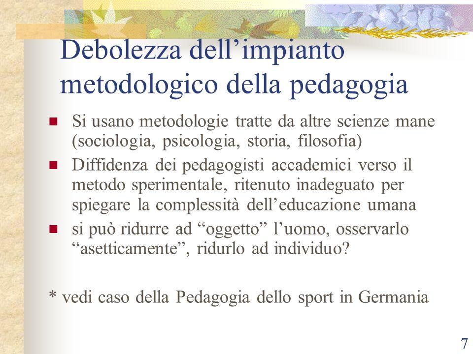 Debolezza dell'impianto metodologico della pedagogia