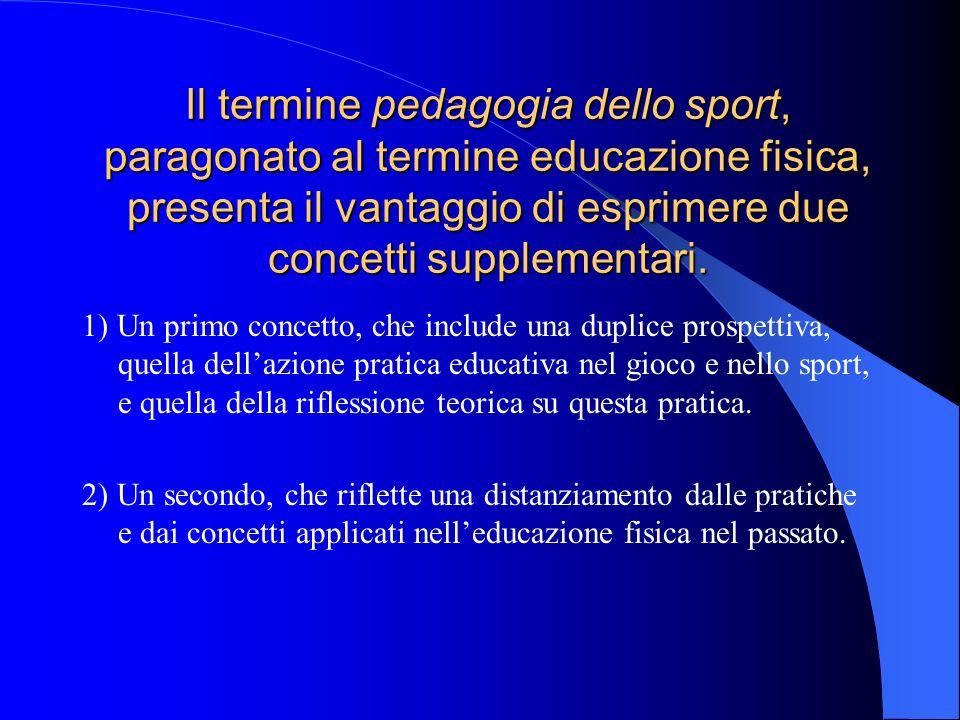 Il termine pedagogia dello sport, paragonato al termine educazione fisica, presenta il vantaggio di esprimere due concetti supplementari.