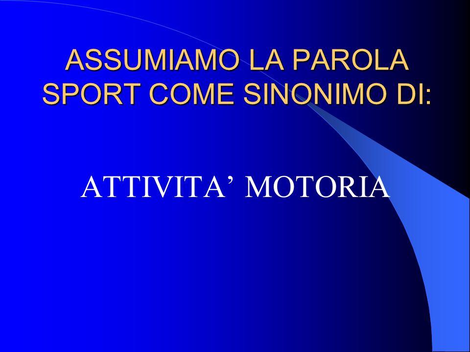 ASSUMIAMO LA PAROLA SPORT COME SINONIMO DI: