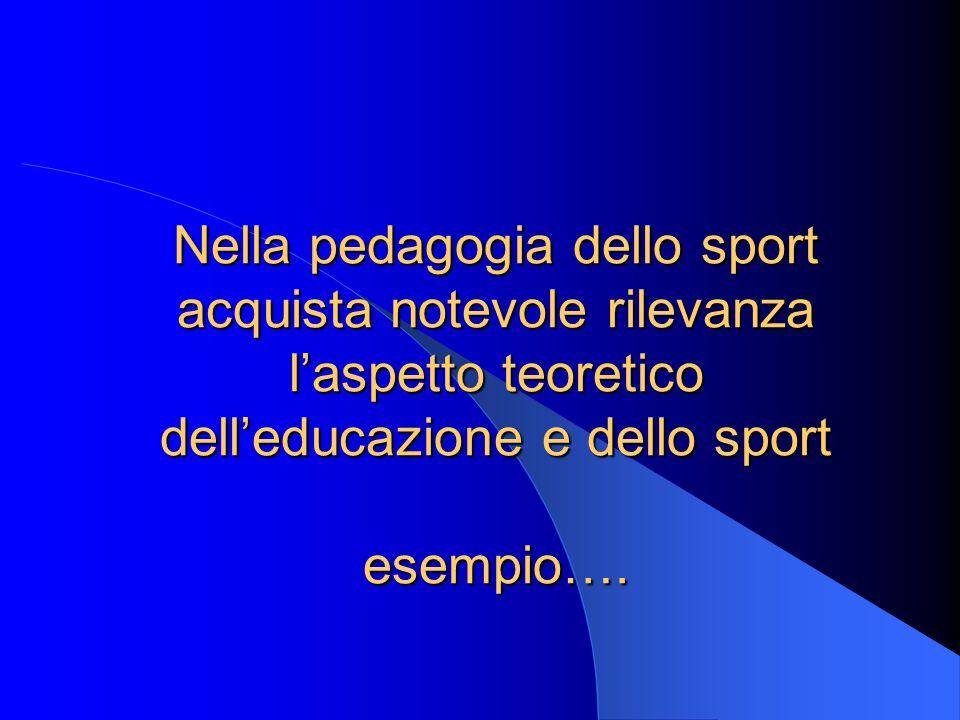 Nella pedagogia dello sport acquista notevole rilevanza l'aspetto teoretico dell'educazione e dello sport esempio….
