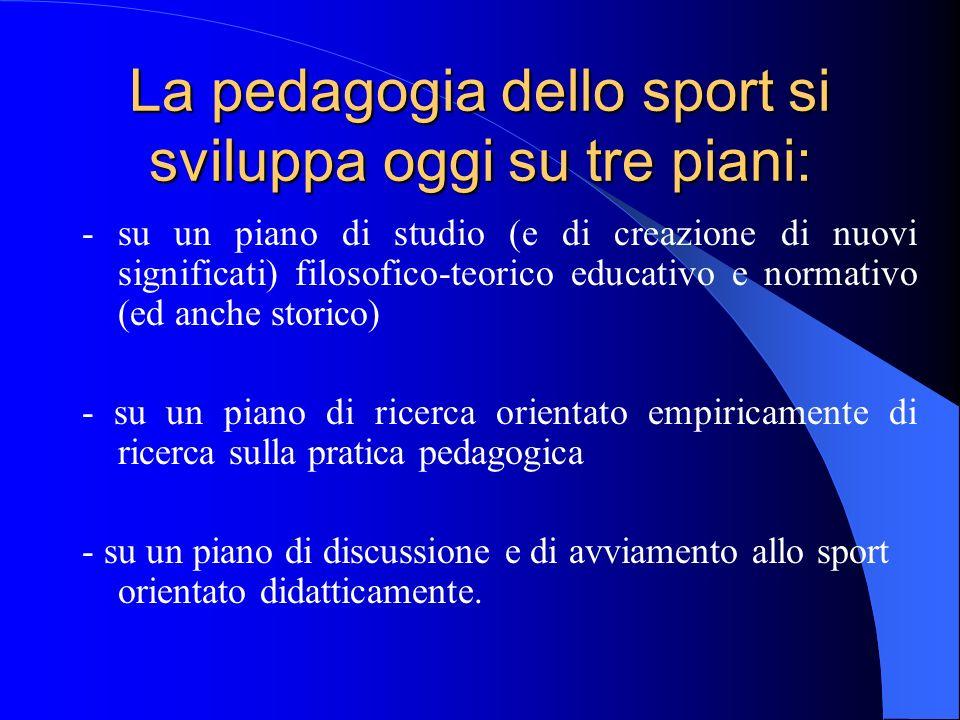 La pedagogia dello sport si sviluppa oggi su tre piani: