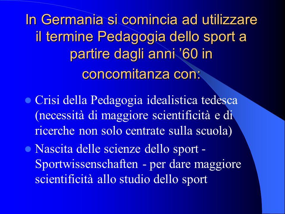 In Germania si comincia ad utilizzare il termine Pedagogia dello sport a partire dagli anni '60 in concomitanza con: