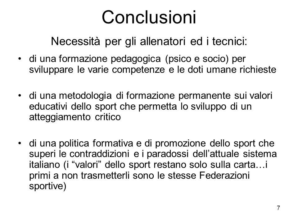 Conclusioni Necessità per gli allenatori ed i tecnici: