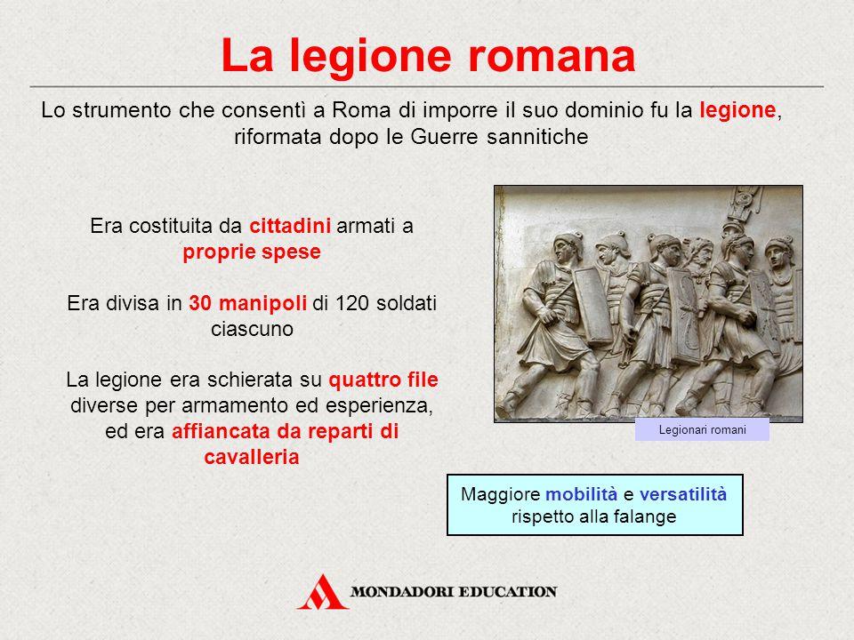 La legione romana Lo strumento che consentì a Roma di imporre il suo dominio fu la legione, riformata dopo le Guerre sannitiche.