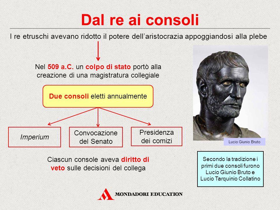 Dal re ai consoli I re etruschi avevano ridotto il potere dell'aristocrazia appoggiandosi alla plebe.