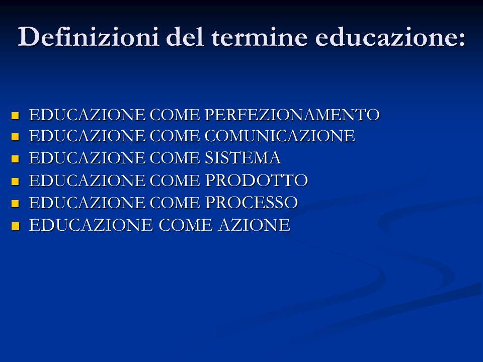 Definizioni del termine educazione: