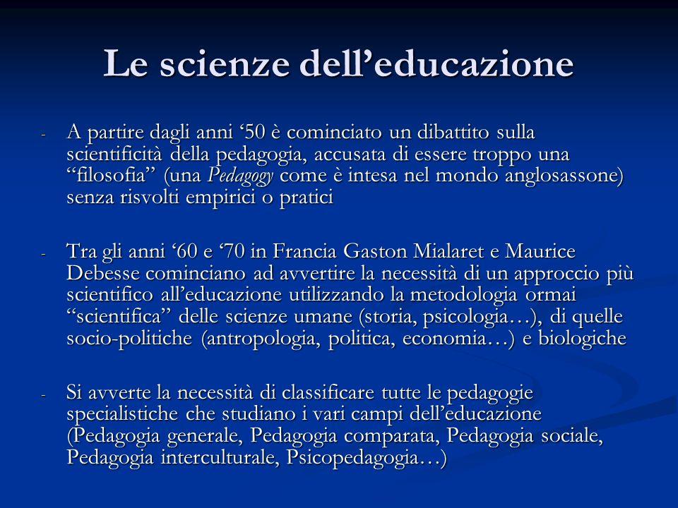 Le scienze dell'educazione