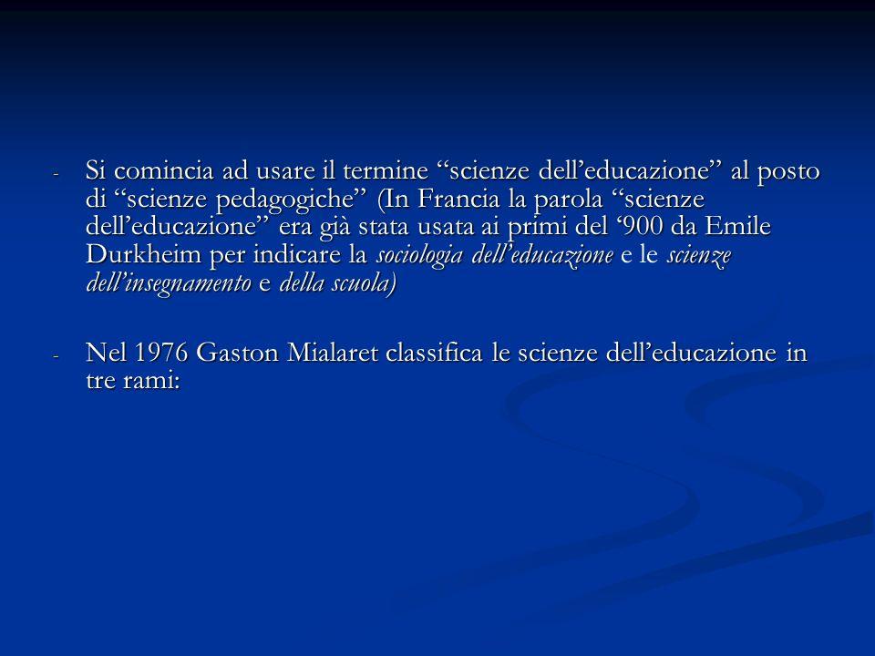Si comincia ad usare il termine scienze dell'educazione al posto di scienze pedagogiche (In Francia la parola scienze dell'educazione era già stata usata ai primi del '900 da Emile Durkheim per indicare la sociologia dell'educazione e le scienze dell'insegnamento e della scuola)