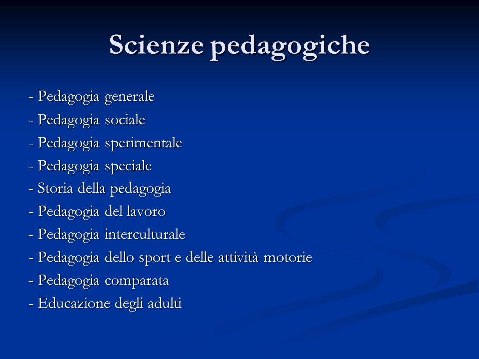 Scienze pedagogiche - Pedagogia generale - Pedagogia sociale