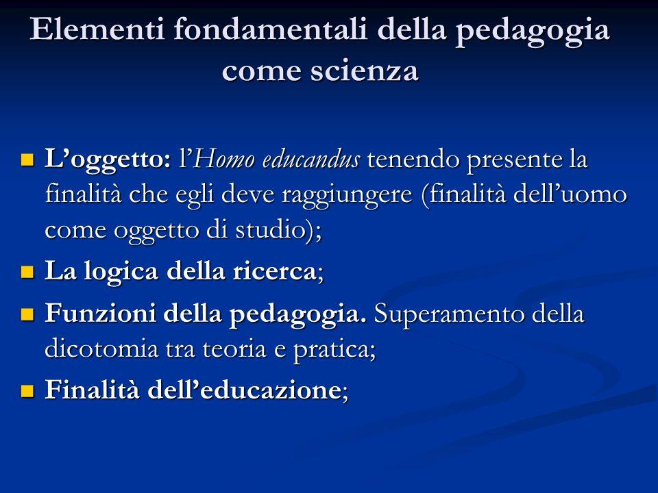 Elementi fondamentali della pedagogia come scienza