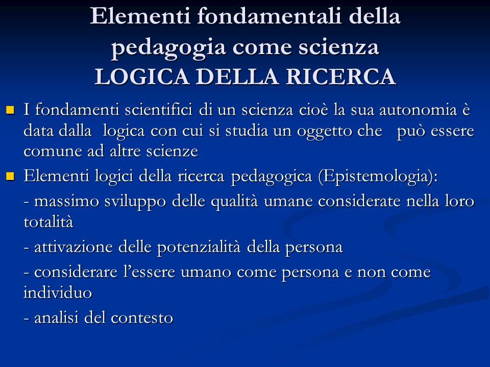 Elementi fondamentali della pedagogia come scienza LOGICA DELLA RICERCA