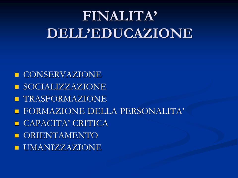 FINALITA' DELL'EDUCAZIONE