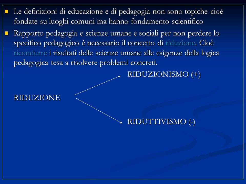 Le definizioni di educazione e di pedagogia non sono topiche cioè fondate su luoghi comuni ma hanno fondamento scientifico