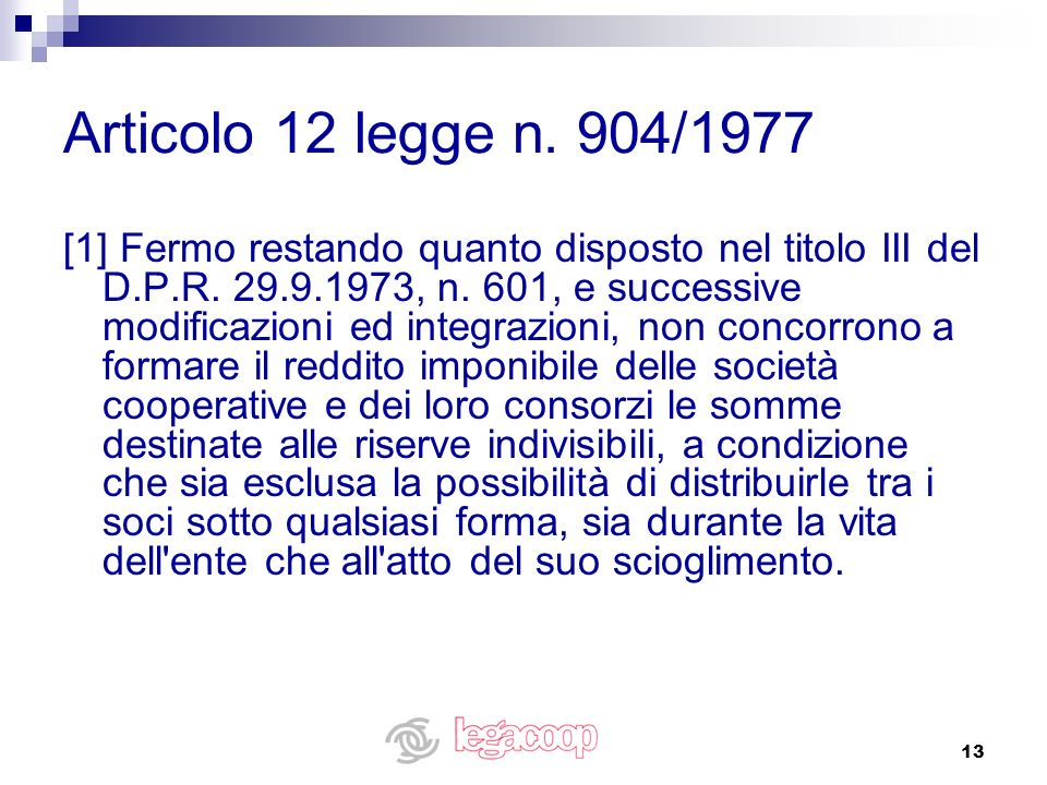 Articolo 12 legge n. 904/1977