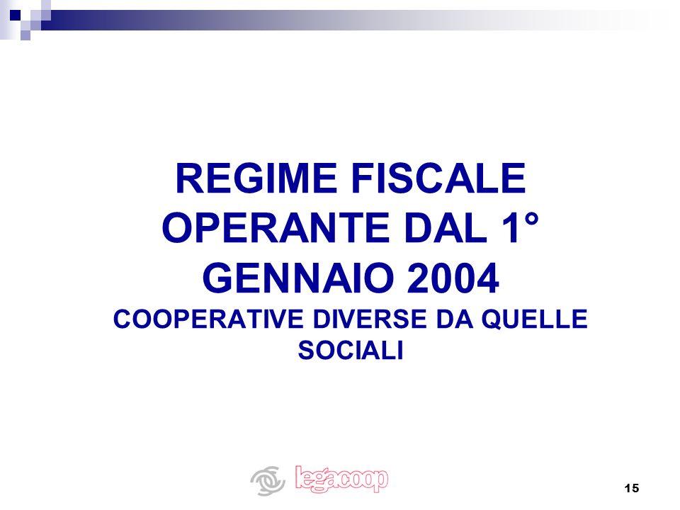 REGIME FISCALE OPERANTE DAL 1° GENNAIO 2004 COOPERATIVE DIVERSE DA QUELLE SOCIALI