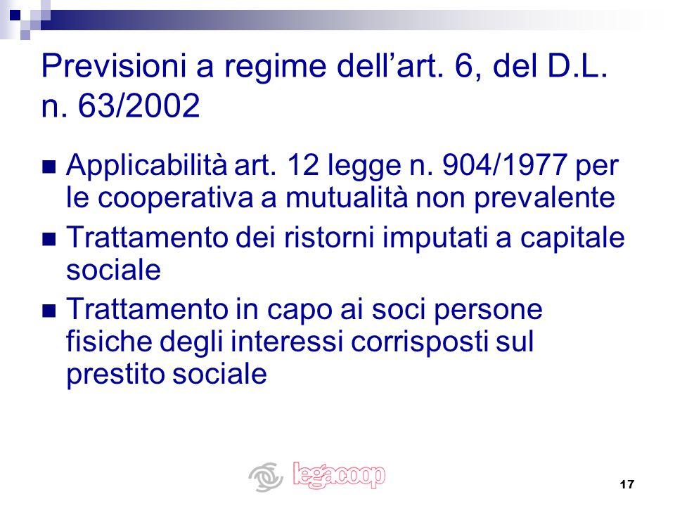 Previsioni a regime dell'art. 6, del D.L. n. 63/2002
