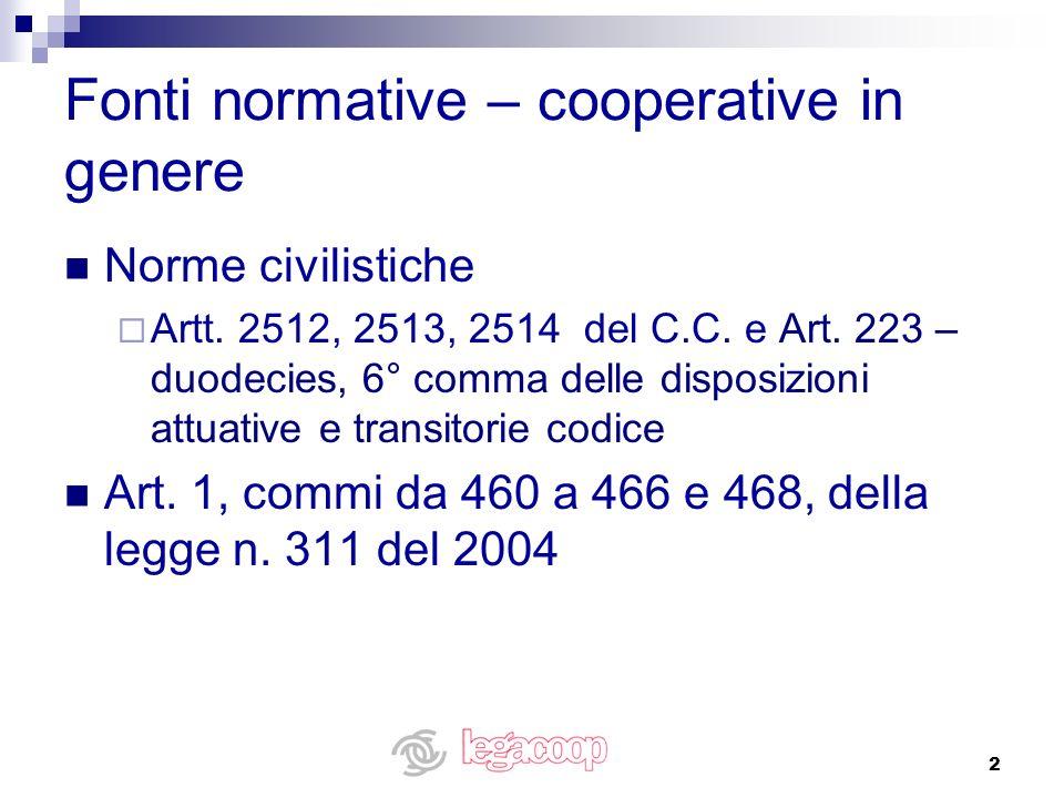 Fonti normative – cooperative in genere