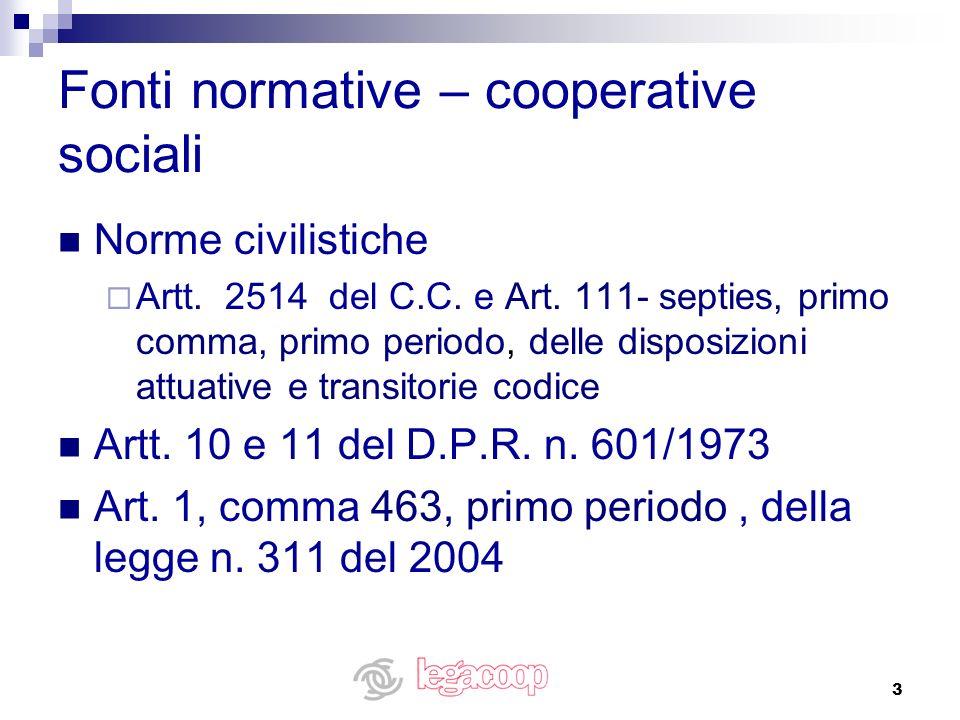 Fonti normative – cooperative sociali