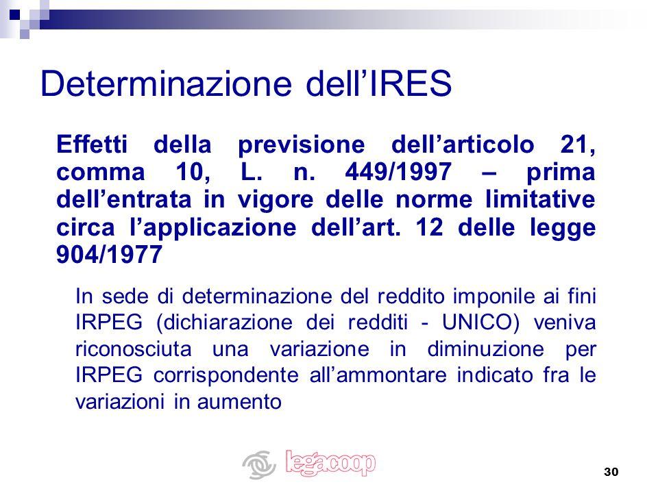 Determinazione dell'IRES