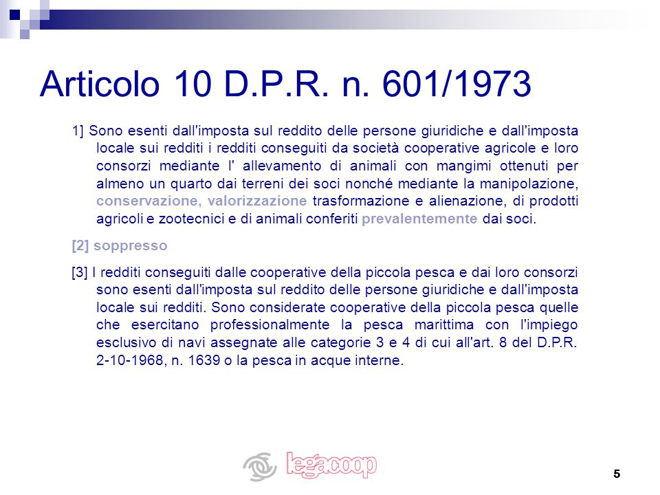 Articolo 10 D.P.R. n. 601/1973