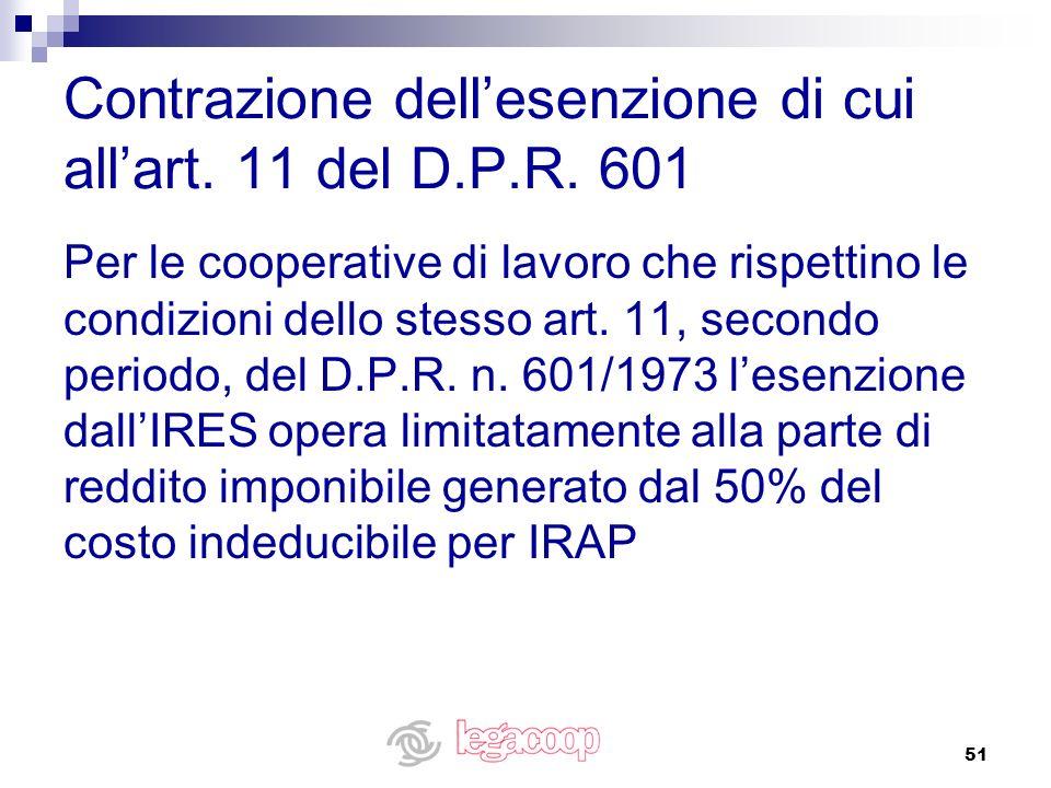 Contrazione dell'esenzione di cui all'art. 11 del D.P.R. 601