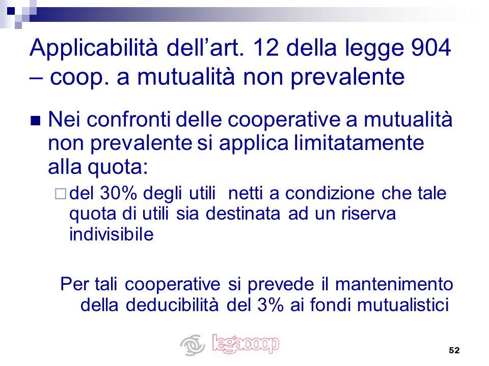 Applicabilità dell'art. 12 della legge 904 – coop