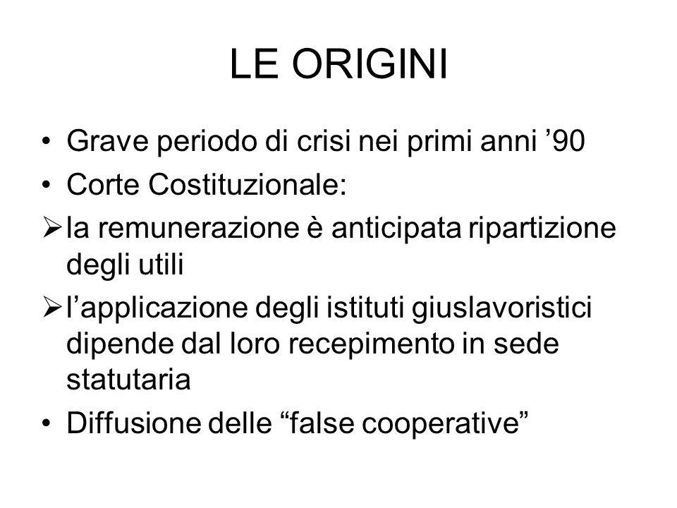 LE ORIGINI Grave periodo di crisi nei primi anni '90