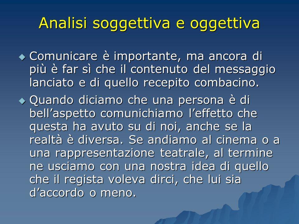 Analisi soggettiva e oggettiva