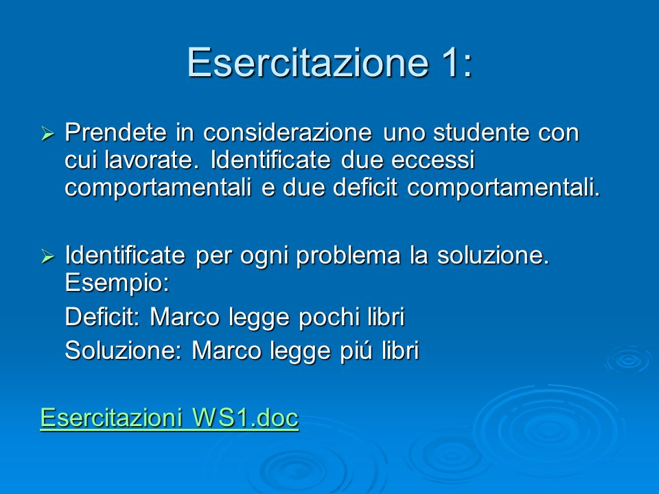 Workshop 1 Esercitazione 1: