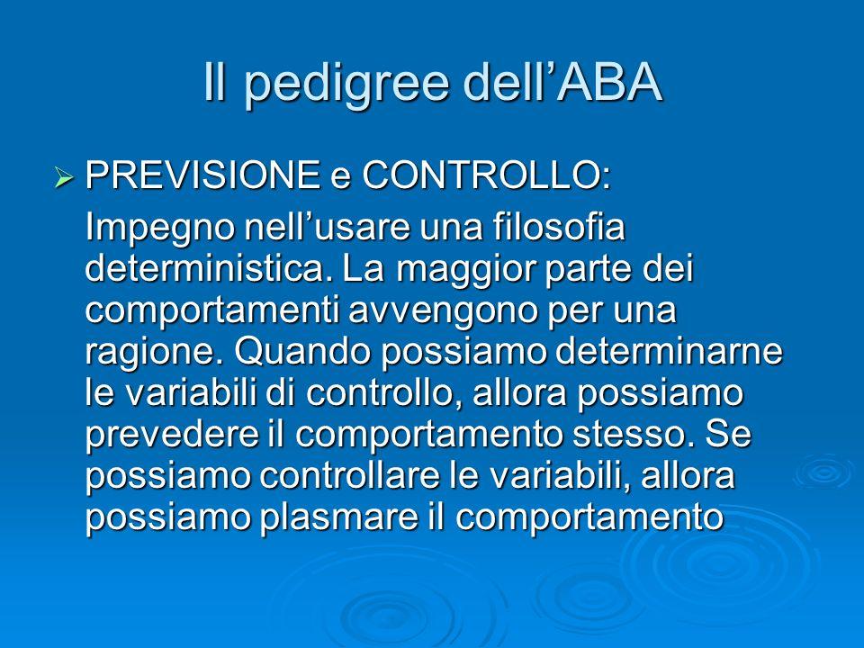 Il pedigree dell'ABA PREVISIONE e CONTROLLO: