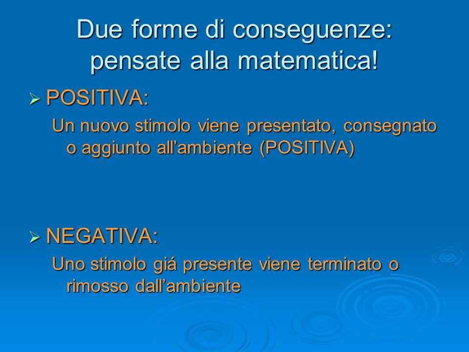 Due forme di conseguenze: pensate alla matematica!