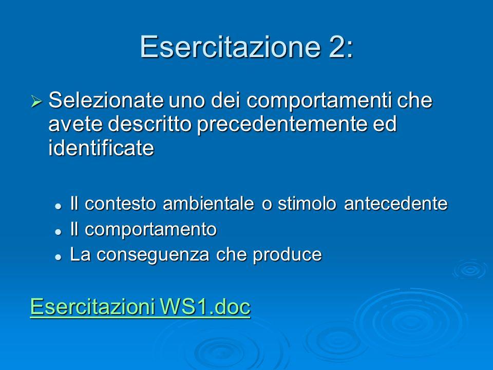 Workshop 1 Esercitazione 2: Selezionate uno dei comportamenti che avete descritto precedentemente ed identificate.