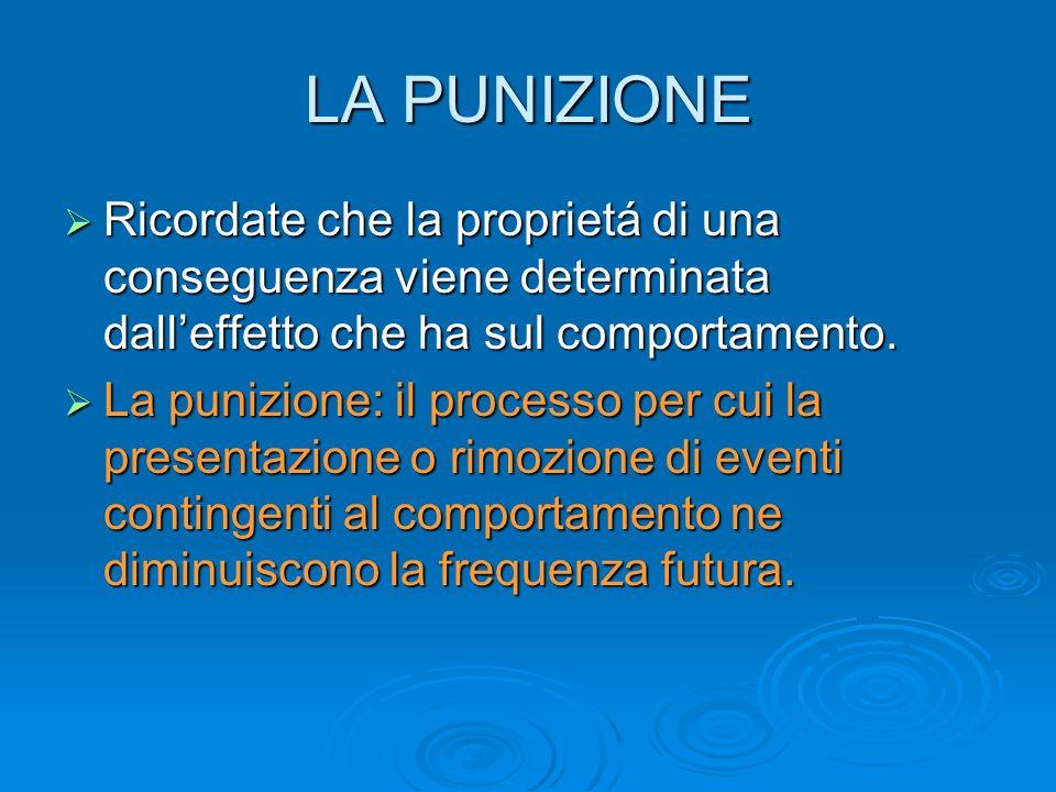 Workshop 1 LA PUNIZIONE. Ricordate che la proprietá di una conseguenza viene determinata dall'effetto che ha sul comportamento.